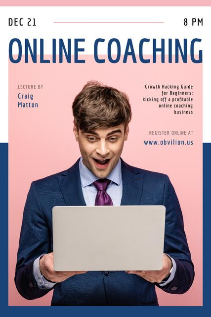Online Courses Ad with Excited Man with Laptop Pinterest Modelo de Design