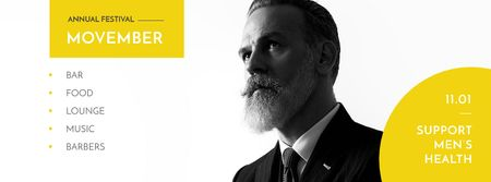 Szablon projektu Man with mustache and beard Facebook cover