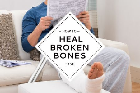 Man with broken bones sitting on sofa Gift Certificate Modelo de Design