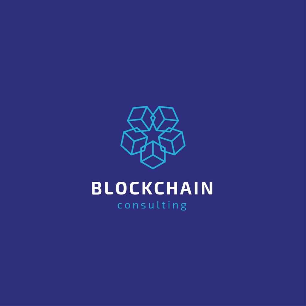 Blockchain Consulting Cubes Icon in Blue — Modelo de projeto