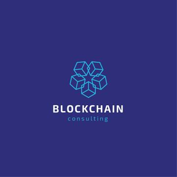 Blockchain Consulting Cubes Icon in Blue | Logo Template