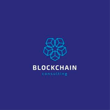Blockchain Consulting Cubes Icon in Blue