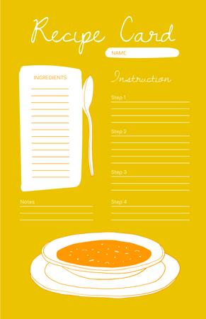 Bowl with Soup on Yellow Recipe Card Tasarım Şablonu