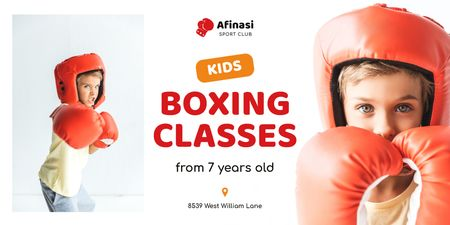 Boxing Classes Ad with Boy in Red Gloves Twitter Modelo de Design