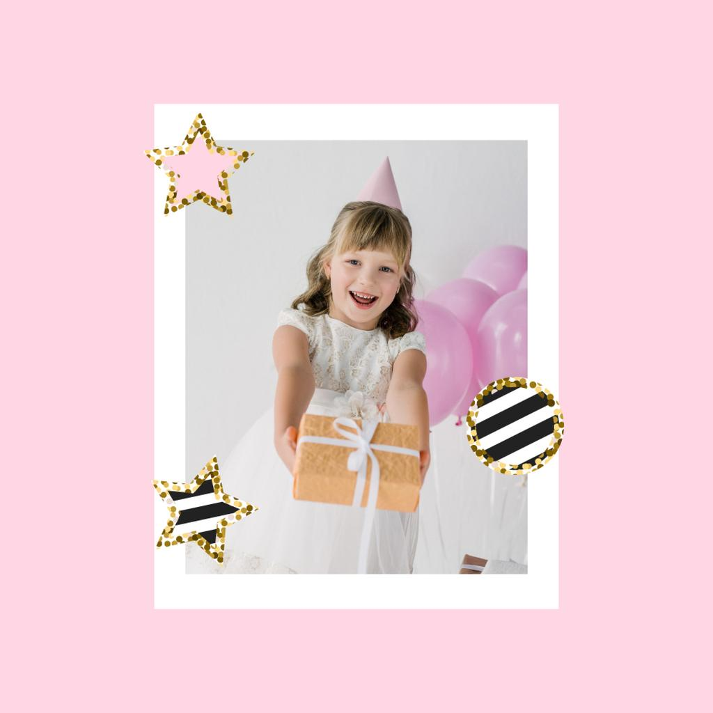 Cute Girl celebrating Birthday — Modelo de projeto