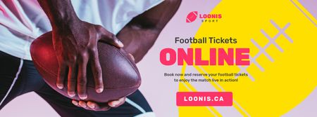 Match Tickets Ad with Rugby Player with Ball Facebook cover Design Template