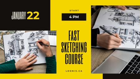 Sketching Courses Ad Painter drawing house FB event cover Modelo de Design