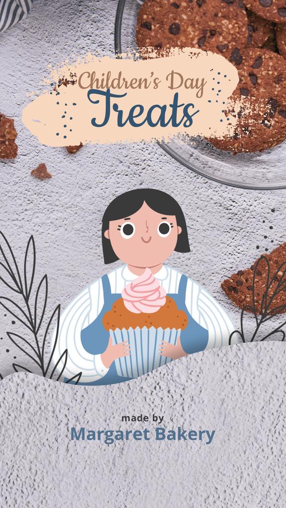 Children's Day Offer Girl Holding Cupcake - Bir Tasarım Oluşturun
