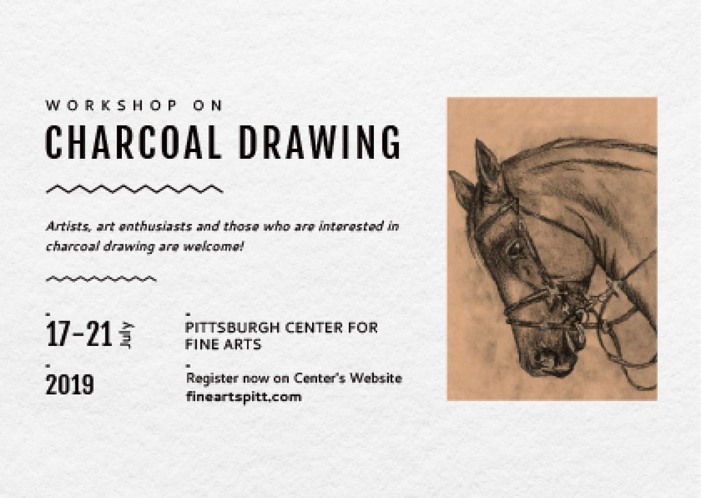 Drawing Workshop Announcement Horse Image | Postcard Template — ein Design erstellen
