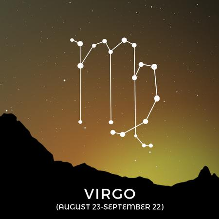 Modèle de visuel Night Sky with Virgo Constellation - Animated Post