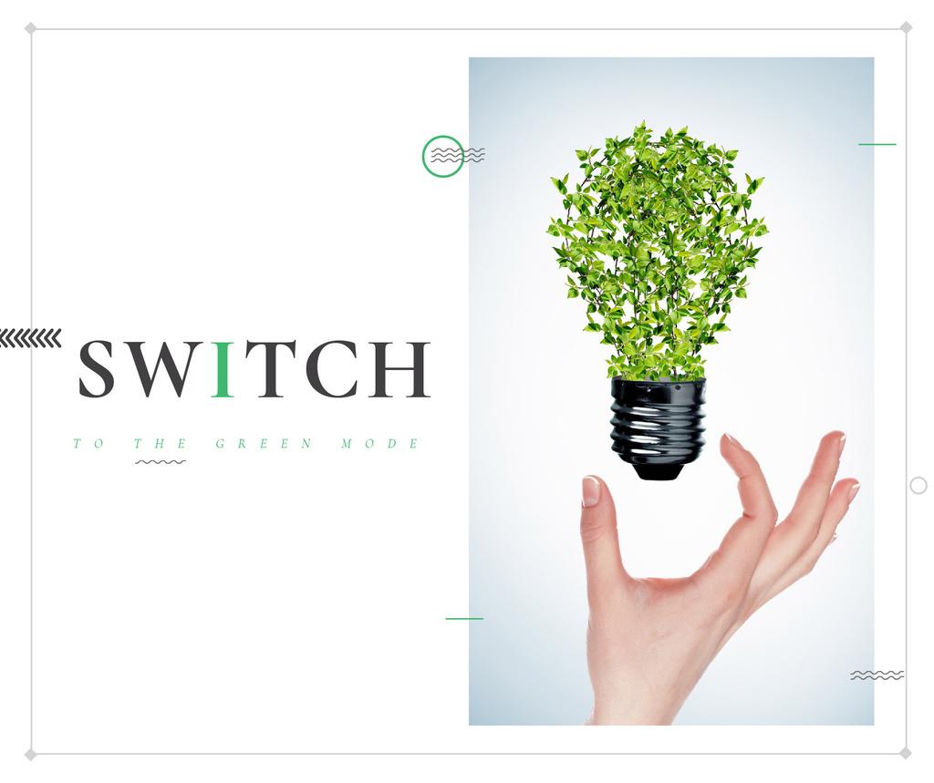 Eco Technologies Concept Light Bulb with Leaves | Facebook Post Template — Modelo de projeto