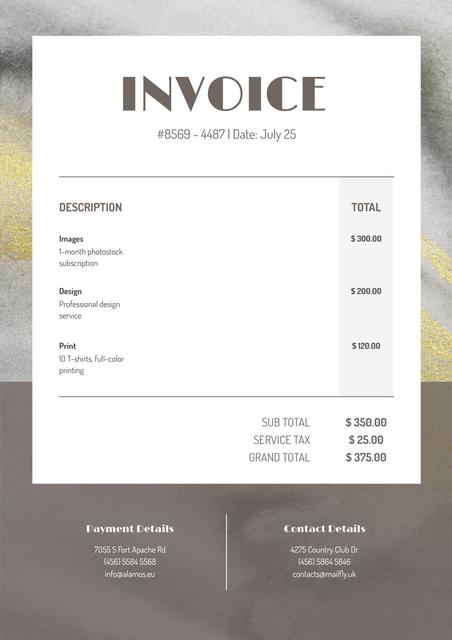 Design Services in Texture Frame Invoiceデザインテンプレート