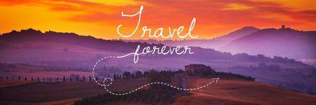 Plantilla de diseño de Travelling Inspiration Scenic Sunset Landscape Twitter