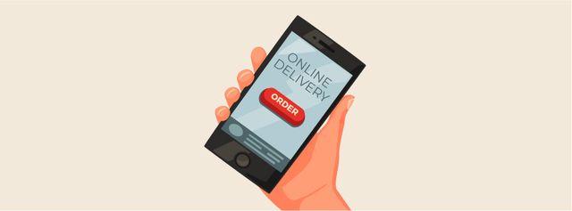 Online delivery order on phone screen Facebook Video cover Tasarım Şablonu