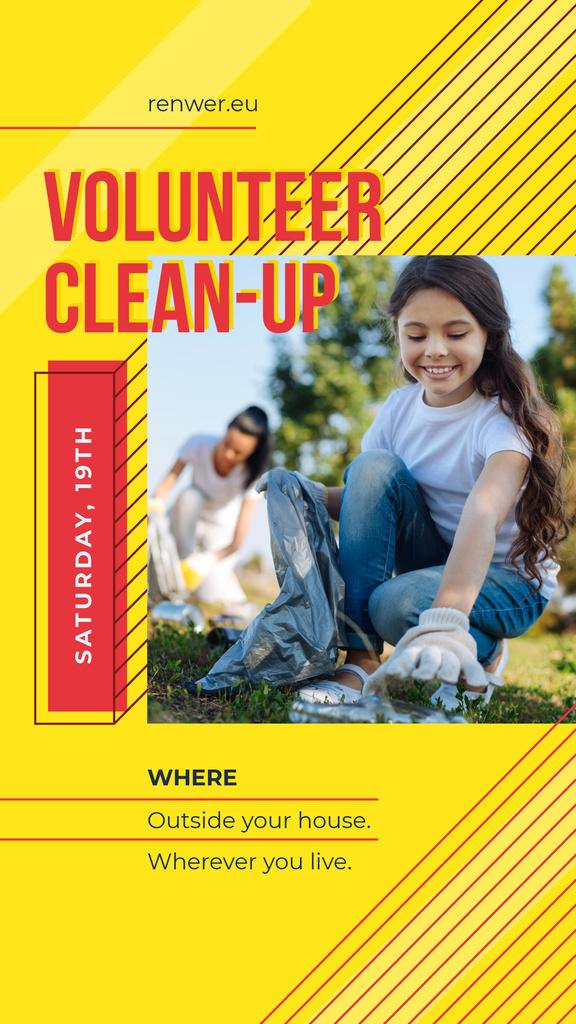 Modèle de visuel Volunteers collecting garbage - Instagram Story