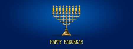 Happy Hanukkah Greeting with Menorah Facebook Video cover Modelo de Design