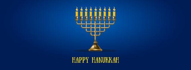 Happy Hanukkah Greeting with Menorah Facebook Video cover – шаблон для дизайну