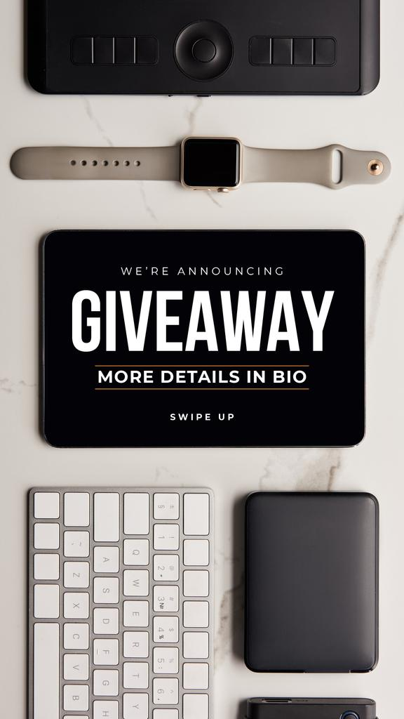 Giveaway Ad with Electronic Gadgets on table – Stwórz projekt