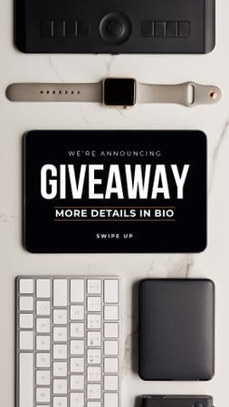 Giveaway Ad with Electronic Gadgets on table Instagram Story Modelo de Design