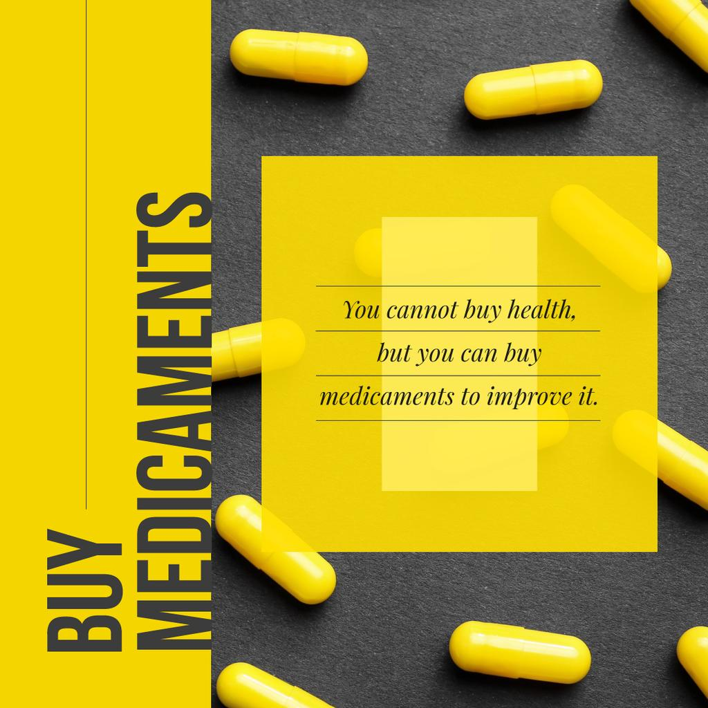 Pharmacy Ad Yellow Capsules on Table — Modelo de projeto