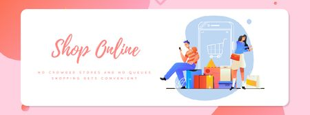 Plantilla de diseño de People shopping online Facebook Video cover