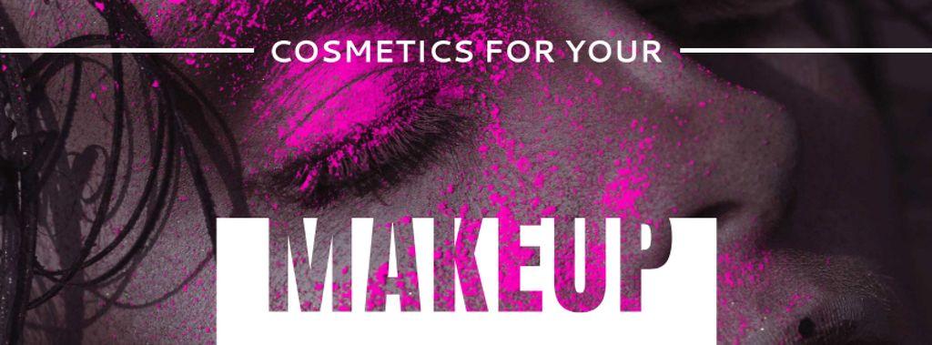 Cosmetics Offer with Girl in Pink Eyeshadow — Modelo de projeto