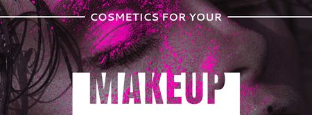 Cosmetics Offer with Girl in Pink Eyeshadow Facebook cover Modelo de Design
