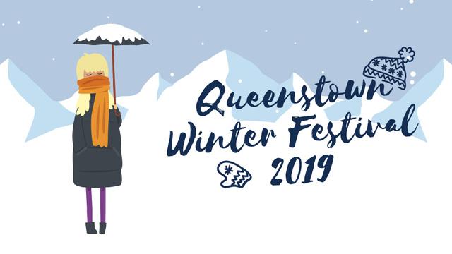 Winter Festival Girl with Umbrella in Snowy Mountains Full HD video Tasarım Şablonu