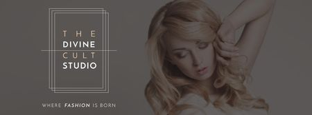 Ontwerpsjabloon van Facebook cover van Beauty Studio Ad with Attractive Blonde