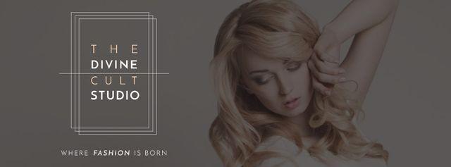 Beauty Studio Ad with Attractive Blonde Facebook cover – шаблон для дизайну