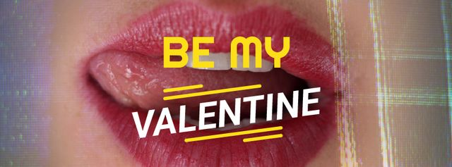 Valentine's Card with Sexy Woman licking her lips Facebook Video coverデザインテンプレート