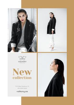Female Clothes Ad Woman in Monochrome Outfit