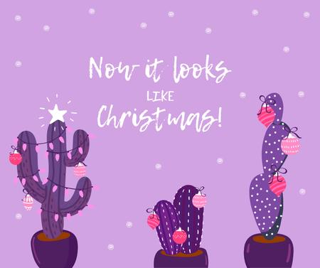 Decorated Cactuses for Christmas greeting Facebook Modelo de Design