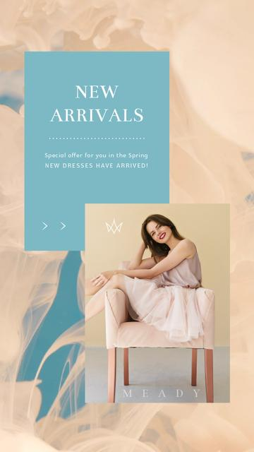 Template di design Clothes Ad Young Woman in Light Outfit Instagram Video Story
