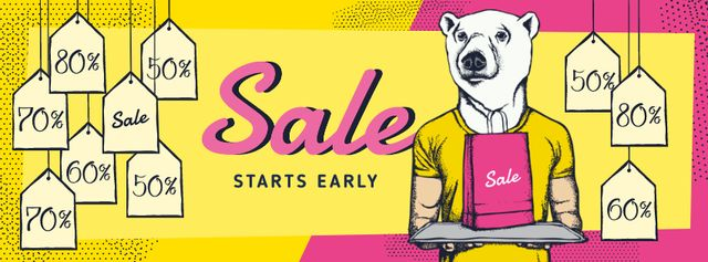White bear with sale tags Facebook cover Modelo de Design