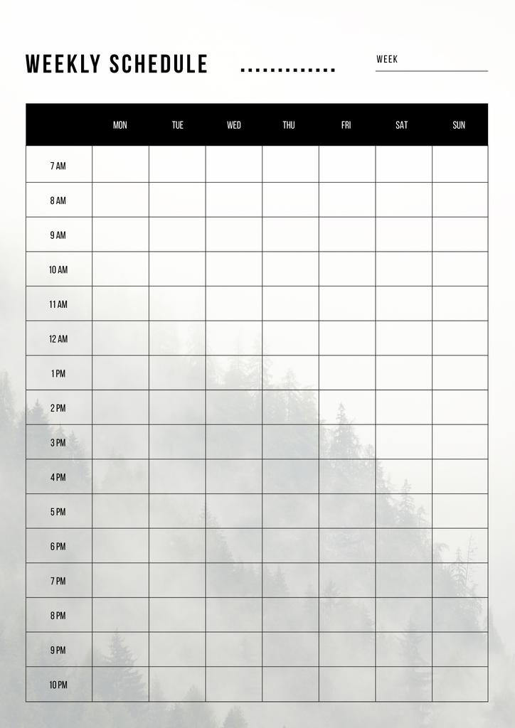 Weekly Schedule Planner on Foggy Mountain Forest — Create a Design