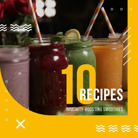 Healthy Drinks Recipes Jars with Smoothies Animated Post Modelo de Design