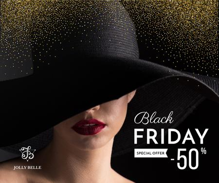 Ontwerpsjabloon van Facebook van Black Friday Sale with Woman in hat