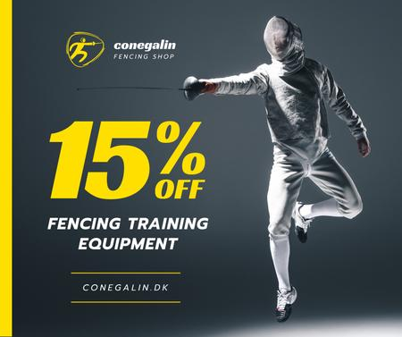 Plantilla de diseño de Sports Equipment Sale Fencer Attacking Facebook