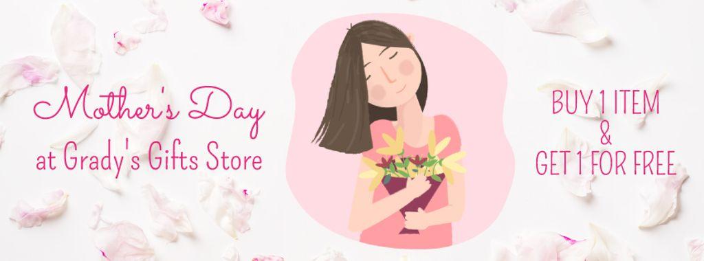 Dreamy girl holding bouquet — Modelo de projeto