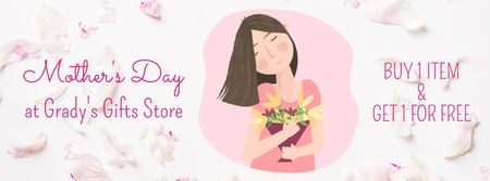 Dreamy girl holding bouquet Facebook Video cover Modelo de Design