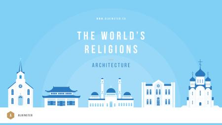 Ontwerpsjabloon van Presentation Wide van Temples of different religions