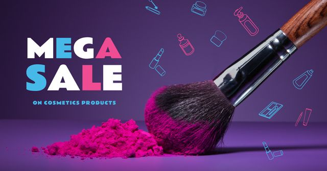 Plantilla de diseño de Makeup Sale with brush and powder Facebook AD