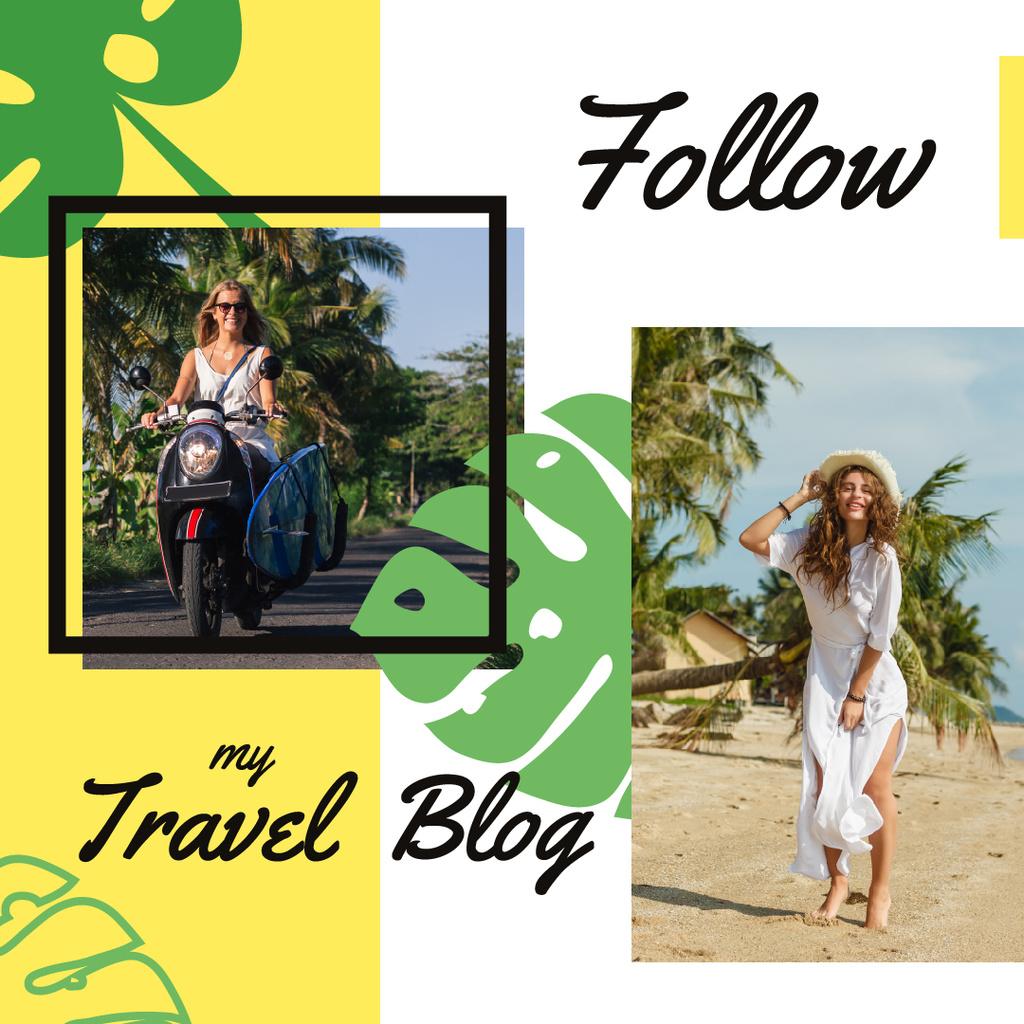 Travel Blog Promotion Woman at Seacoast  — Crea un design