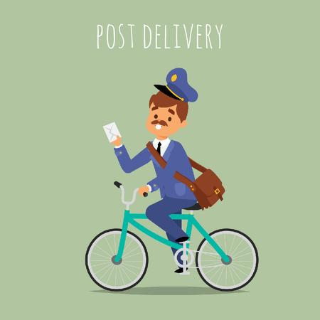 Mailman delivering letter by bicycle Animated Postデザインテンプレート