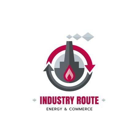 Industrial Company with Plant and Chimney Logo Modelo de Design