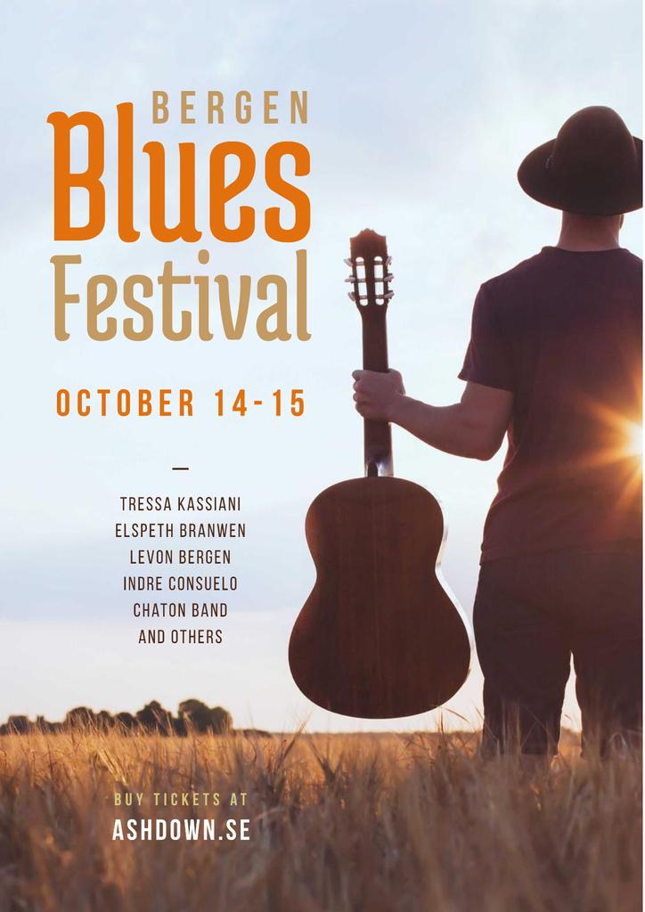 Blues Festival Invitation Man with Guitar at Sunset — ein Design erstellen