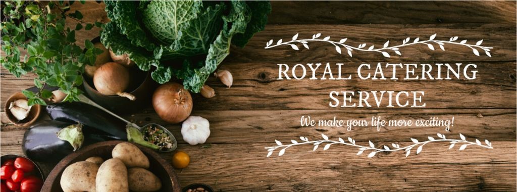 Catering Service Ad Vegetables on Table | Facebook Cover Template — Créer un visuel