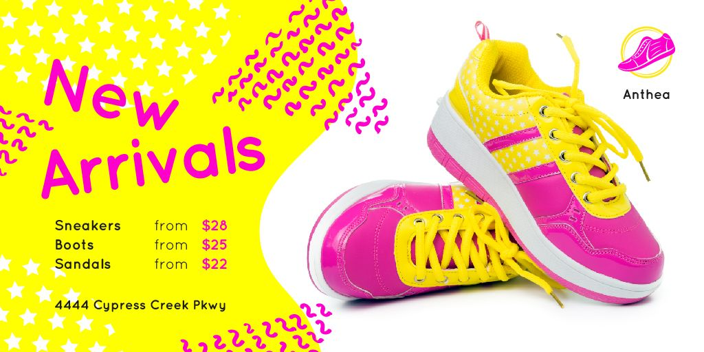 Sport Shoes Sale with Sneakers in Pink and Yellow — Создать дизайн