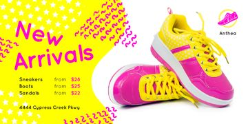 Sport Shoes Sale Sneakers in Pink and Yellow | Twitter Post Template